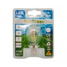 LED Filament klot E14 2W (16W)